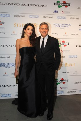 "Firenze. George e Amal alla serata di Gala ""Celebrity Fight Night""."